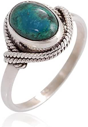 925 Sterling Silver Chrysocolla Gemstone Oval Rope Edge Vintage Band Ring Size 6, 7, 8
