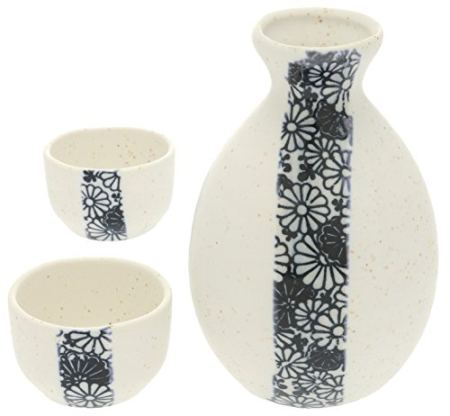 Kotobuki Sake Set Blue and White Chrysanthemum Design - Junmai Daiginjo Sake
