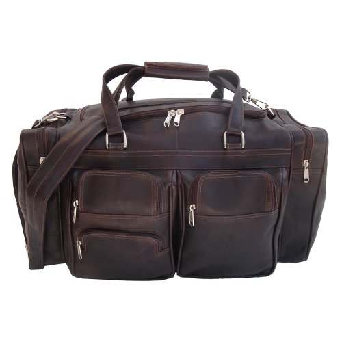 (Piel Leather 20In Duffel Bag with Pockets, Chocolate, One Size)