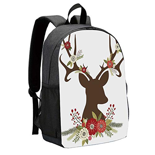 Antler Decor Durable Backpack,Christmas Inspired Design Reindeer Silhouette Horns with Spring Meadow Flowers Decorative for School Travel,12