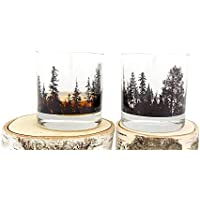 Whiskey Glasses - Forest Landscape - Set of Two Heavy Base Rock Glasses - Whiskey Glass Set