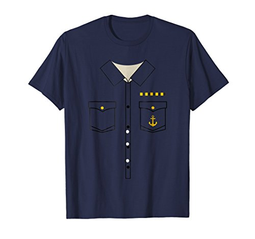 Mens Boat Captain Uniform Costume T-Shirt   Halloween Shirt Large -