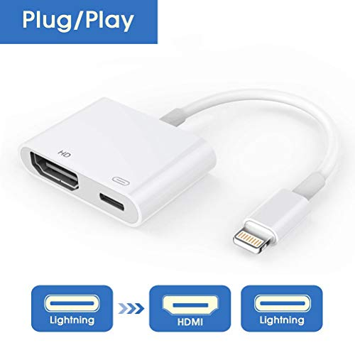 Lighting to HDMI Adapter, Lighting Digital AV Adapter with Lighting Charging Port for HD TV Monitor Projector 1080P for iPhone, iPad and iPod (iOS 11, iOS 12) ()