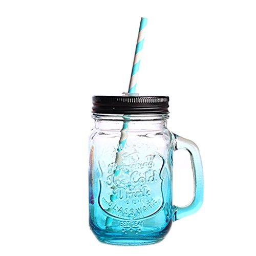 3D Vintage Blue Mason Cup with Lid & Straw Mason Glass Drinking Jars Cocktails and Smoothies, 17oz