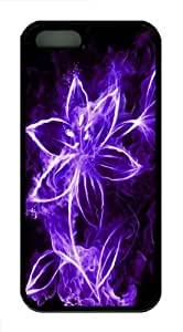 Abstract purple flowers with light pc hard fashion case Case Cover for iphone 4s ??¨¬C Black