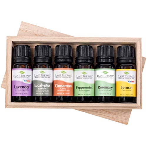 Plant Therapy Essential Oil Gift Set #4 | Lavender, Peppermint, Eucalyptus, Lemon, Rosemary, Cinnamon, In A Wooden Box | 100% Pure, Undiluted, Natural Aromatherapy, Therapeutic Grade | 10 mL (1/3 ()