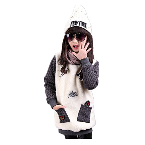 [FTSUCQ Girls Letter Warm Fleeced Sweater Pullover,Gray 125-135] (Hottest 12 Year Old Girls)