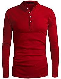 Men's Henley Shirt Casual Long Sleeve button T-Shirt