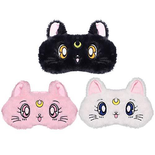 ZTL 3 Pack Cute Cat Sleeping Mask Soft Plush Blindfold Eye Cover for Kids Teens Girls Women Home Sleeping Traveling