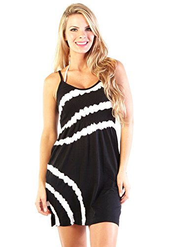 Tie Dye Camisole Dress (Ingear Seamless Spaghetti Dress Summer Casual Tank Beach Cover Up Sundress (One Size, Black/White))