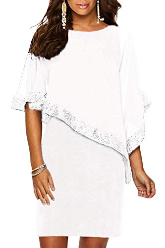(Alaster Queen Sequined Overlay Party Dress Chiffon Poncho Slit Sleeve Pencil Cocktail Mini Dress ... (White, X-Large))