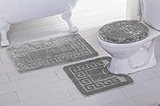 Fancy Linen 3pc Non-Slip Bath Mat Set with Chain Pattern Solid Black Bathroom U-Shaped Contour Rug, Mat and Toilet Lid Cover New