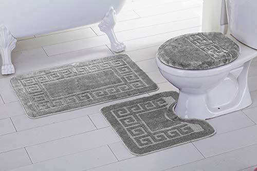 (Elegant Home 3 Piece Bathroom Rug Set Bath Rug, Contour Mat, Lid Cover Non-Slip with Rubber Backing Greek Key Design Solid Color # Laura (Light Grey/Silver))