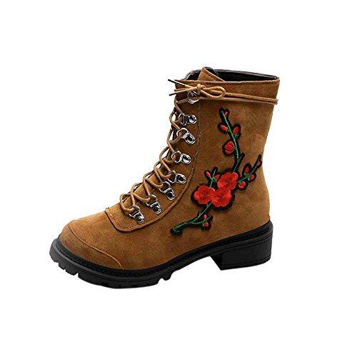 OverDose Damen Breathable Leicht Herbst Winter High Heel Dick Lace-up Stiefel Damen Schuhe Casual Martin Stiefel Schwarz