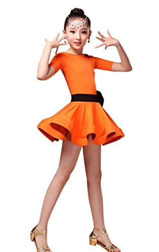 Happy Cherry Kids Girls' Dry Quick Ballroom Latin Tango Waltz Pas Doble Dance Dress Team Dancewear Clothes for 10-11Y Orange -