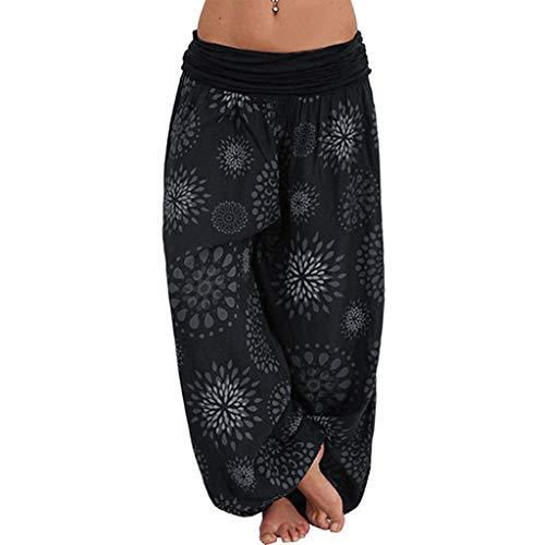 VEZAD Women Floral Print Elastic Waist Harem Pants Plus Size Loose Trousers