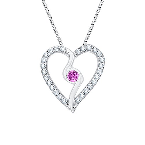 (Center Pink Sapphire and White Diamond Heart Pendant Necklace in 10K White Gold (1/6 cttw) (Color JK, Clarity SI2-I1))