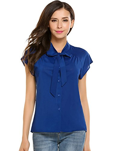 Soteer Womens Short Sleeve Bow Tie Neck Chiffon Blouse Tops