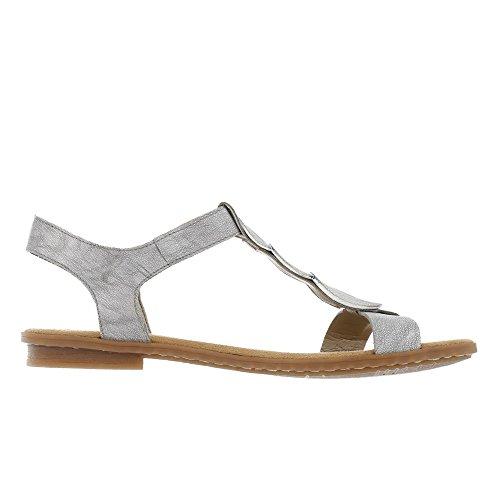 Rieker Damen 64263 Offene Sandalen mit Keilabsatz Grau (Silber)