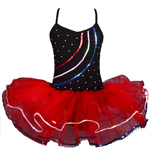 Daisy Ballet Tutu - Dressy Daisy Girls' Ballet Tutu Dance Costume Pageant Fairy Dress with Arm Mitts Size 3-4T Black & Red