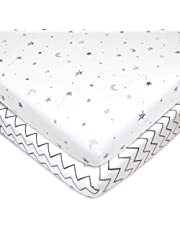 American Baby Company 2 Pack Printed 100% Natural Cotton Jersey Knit Fitted Portable/Mini-Crib Sheet, Grey Stars and Zigzag, Soft Breathable, for Boys and Girls