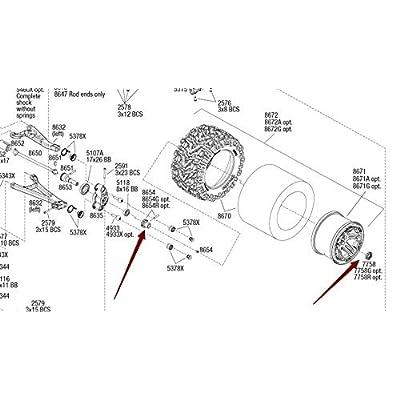 Aluminum Splined 17mm Wheel Hubs Hex Adaptar -4pcs Blue for Traxxas 1/10 E REVO 2.0 VXL 8654 7758: Toys & Games
