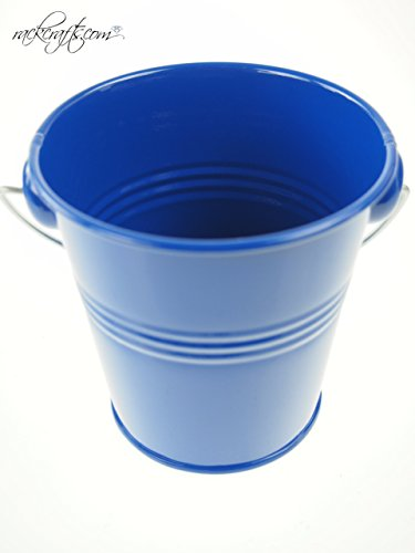 rackcrafts.com Large / XL Metal Sand Water Paint Pails Buckets Party Favor Wedding Baby Shower (L - Royal Blue) -