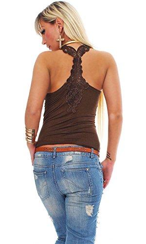 Fashion4Young - Camiseta sin mangas - para mujer marrón oscuro