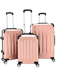 """3-in-1 Portable ABS Trolley Case 20"""" / 24"""" / 28"""" Travel Luggage Suitcase Rose Gold"""