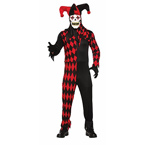 Scary Harlequin Costume (Forum Men's Evil Jester Costume with Mask, Red/Black, STD)