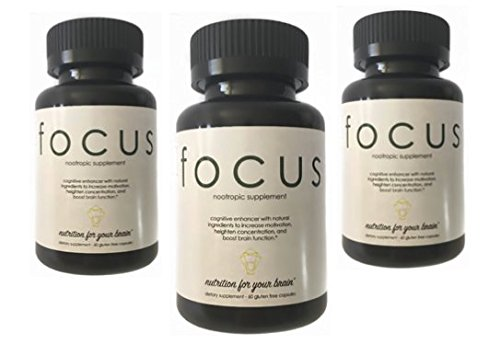 Brain Supplement Nootropic - Formula Focus - Improve Focus, Memory & Energy - Ginko Biloba complex with St John Wort + Bacopa - 90 Day Supply - 100% Money Back Guarantee by Formula Focus