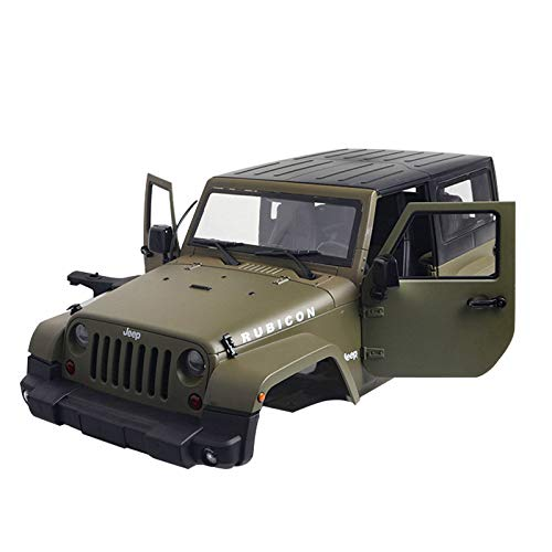 (XuBa 1/10 RC Truck Hard Body Shell Canopy Rubicon Topless for SCX/10/D90 Green)