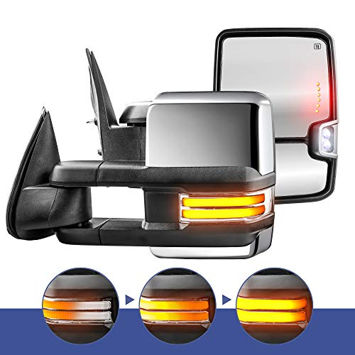 MOSTPLUS New Power Heated Chrome Towing Mirrors for Chevy Silverado Suburban Tahoe GMC Serria Yukon 1999-2002 w/Sequential Turn light, Clearance Lamp, Running Light(Set of 2)