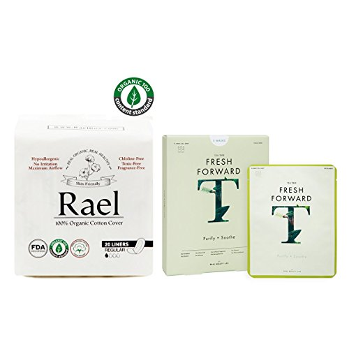 Rael Variety Pack - Organic Cotton Panty Regular Liners 1 Pack(20 Counts) and Fresh Forward Face...
