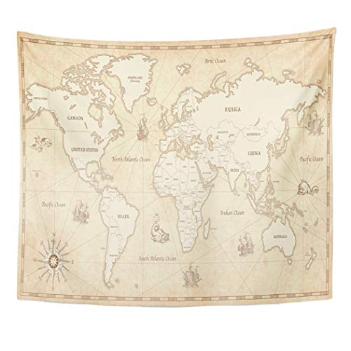 (Emvency Decor Wall Tapestry Great Detail of The World Map in Vintage All Countries Boundaries and Names on Old Parchment Wall Hanging Picnic for Bedroom Living Room Dorm 60x50 Inches)