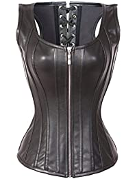 3b40cc56d44 Womens Faux Leather Zipper Front Bustier Corset Top