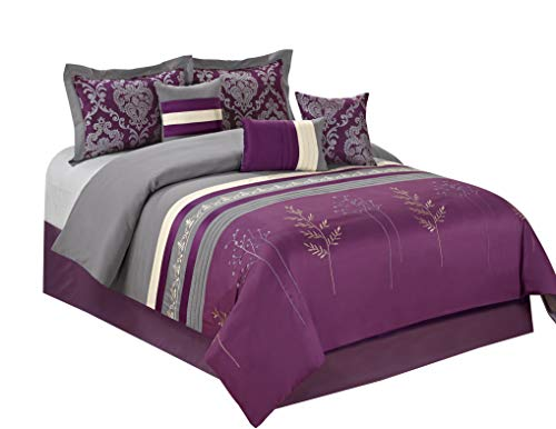 (HIG 7 Piece Comforter Set Queen-Purple Microfiber Embroidery and Patchwork-DALA Bed in A Bag Queen Size-Soft, Hypoallergenic,Fade Resistant-1 Comforter,2 Shams,3 Decorative Pillows,1 Bedskirt)