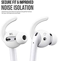 EarBuddyz Ultra Ear Hooks and Covers Compatible with Apple AirPods 1 /& AirPods 2 or EarPods Featuring Bass Enhancement Technology Medium, Black