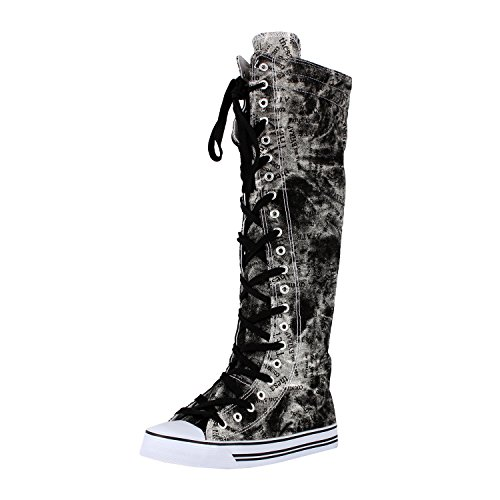 Blvd Up Canvas Graffiti West Lace Sneaker Knee WB High Womens Boots 4wxqYzUd