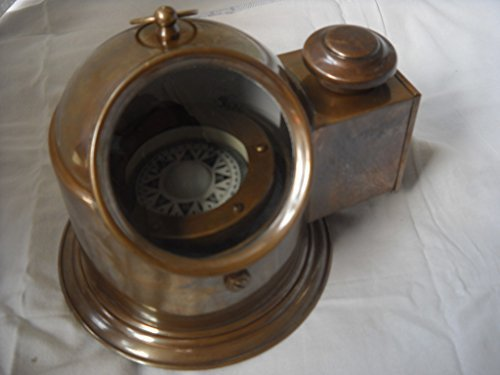 Antique Brass Binnacle Compass w/ Oil Lamp / Nautical Compass by NAUTICALMART