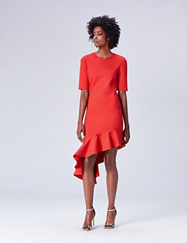 Rosso Vestito Donna Rot con Balza FIND wpnOq1gg