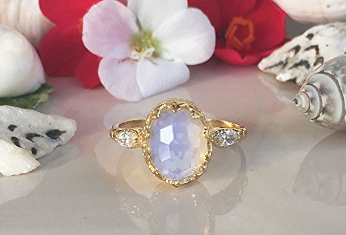 Opalite Ring - Statement Ring - Gold Ring - Oval Crown Ring - Bezel Ring - Gemstone Band - Vintage Ring - Dainty - Moonstone Ring Opalite