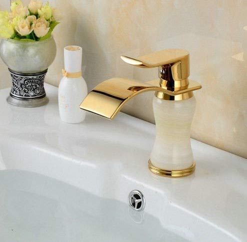 Waschtischarmatur Weinlese-Kupfer-Badezimmer-Jade-Bassin-Hahn-Wasserfall, Europäischer Retro- Bassin-Hahn-Mischer-Wasser-Hahn-Weinlese-Gold Überzogener Großverkauf