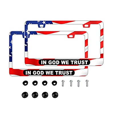 DZGlobal in GOD WE Trust American Flag Red License Frames 2 PCS Print Aluminum Car Plate Frame Fashion Auto Decorative Accessories Slim Design with Bolts Washer Caps for US CA Standard: Automotive