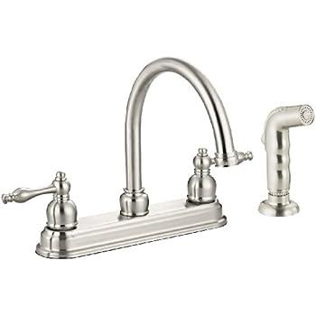 Design House 545335 Saratoga Kitchen Faucet With Sprayer Satin Nickel Finish