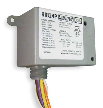 Functional Devices RIB24P Enclosed Relay, 20 Amp Dpdt with 24 Vac/Dc ()