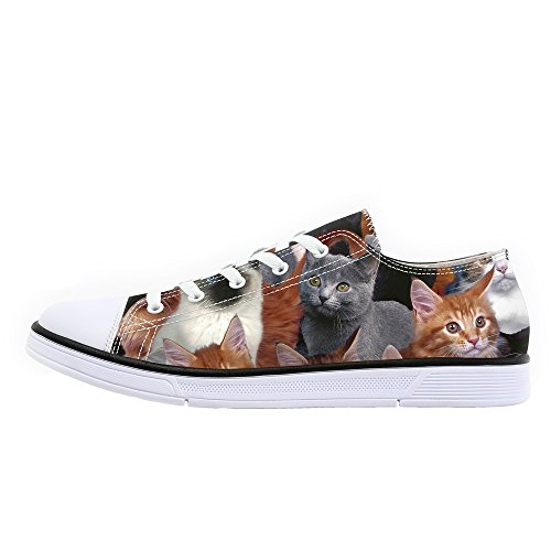 FIRST DANCE Low Top Canvas Shoes Animals Cats Print Sneaker Unisex Breathable Flats (Cat Low Shoe)