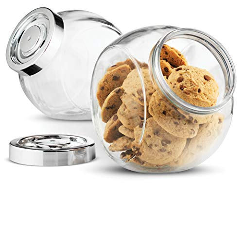 Bormioli Rocco Pandora Glass Candy Jar 75 ½ Ounce Cookie Jar (2 Pack) with Plastic Airtight Seal Lid 2 Ways Display, Bulk Food Storage Jar for Snacks, Dry Food, Jelly Beans Canister, Apothecary Jars