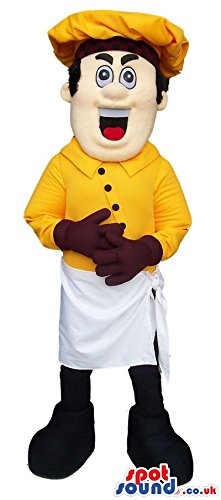 Mascot Costume Maker (Customizable Boy SPOTSOUND US Mascot Costume Wearing Yellow Bread Maker Garments)