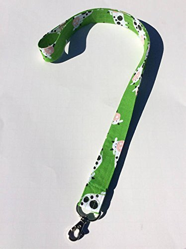 Cows Lanyard ID Badge Key Keeper Keychain Camera Strap Fabric Green Grass with Cows